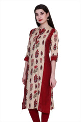 Maroon Color Cotton Women's Stitched Kurti - PK-1018-Maroon