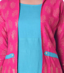 Pink Color Rayon Women's Ankle Length Stitched Kurti - PISJ01-Turquoise