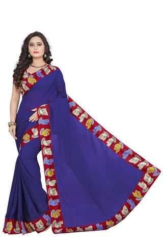 Violet Color Georgette Saree - kalamkari-Hand