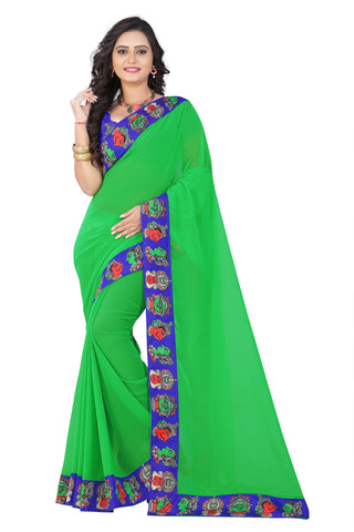 Green Color Faux Georgette Saree - kalamkari-face-green-1