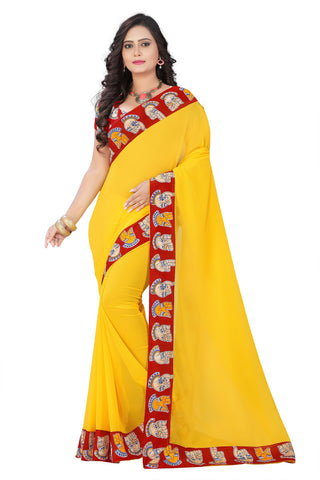 Yellow Color Faux Georgette Saree - kalamkari-hand-yellow-1