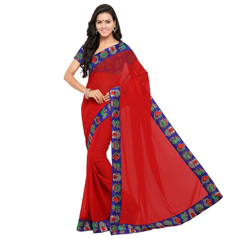 Red Color Georgette Saree - kalamkari-red
