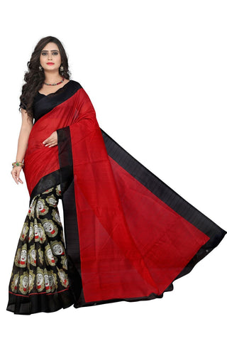 Red and Black Color Bhagalpuri Saree - kalamkari-redblack