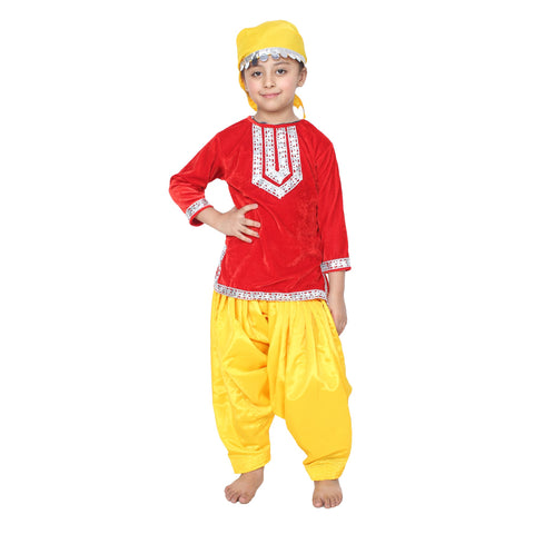 Red Color Cotton Blend Fancy Costume Dress  - kashmiri girl-1
