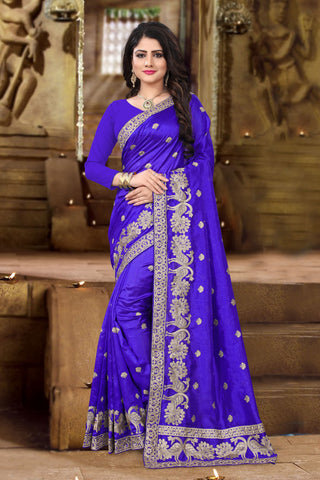 Violet Color Zoya Art Silk Saree - kavyanjali-1105