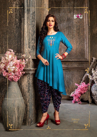 Blue Black Color Rayon Women's Stitched Kurti - kd-177