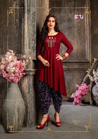Red Black Color Rayon Women's Stitched Kurti - kd-277