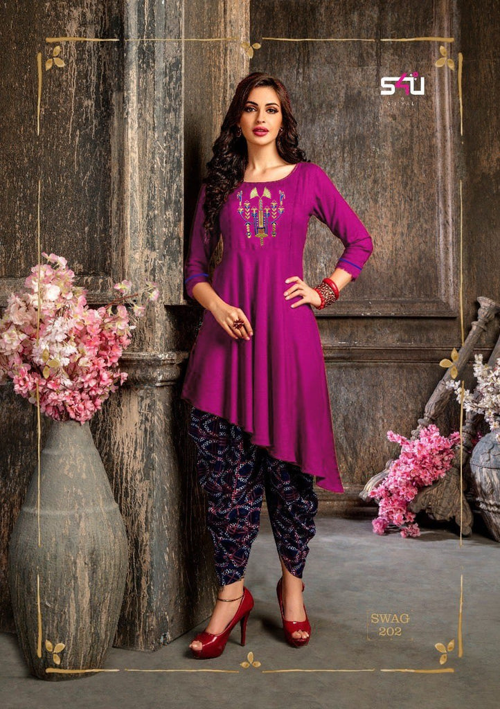 Buy Pink Black Color Rayon Women's Stitched Kurti with Dothi