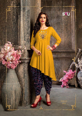 Buy Yellow Color Rayon Women's Stitched Kurti with Dothi