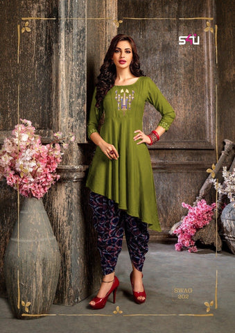 Mehendi Color Rayon Women's Stitched Kurti - kd-577
