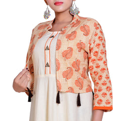 Cream Color Pure Cotton Stitched Kurti  - Kavya-8