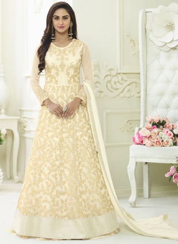 White Color Apple Georgette Semi Stitched Salwar - kierra-29003