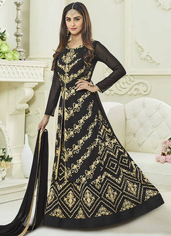 Black Color Apple Georgette Semi Stitched Salwar - kierra-29004