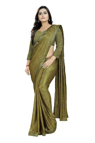Brown Color Imported Lycra Women's Saree - kintting-pallu-Brown