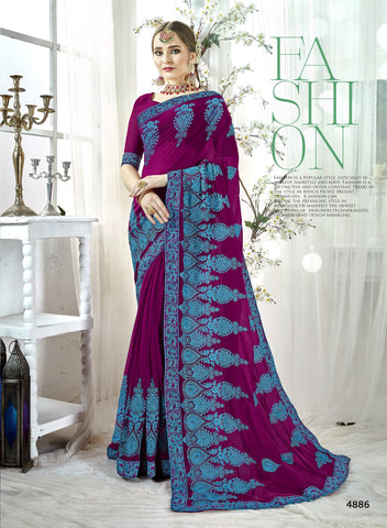 Purple Color Georgette Saree - KINYT4886