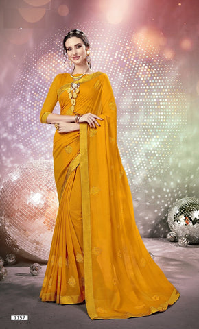 Mustard Yellow Color Georgette Saree - KKSRI1157