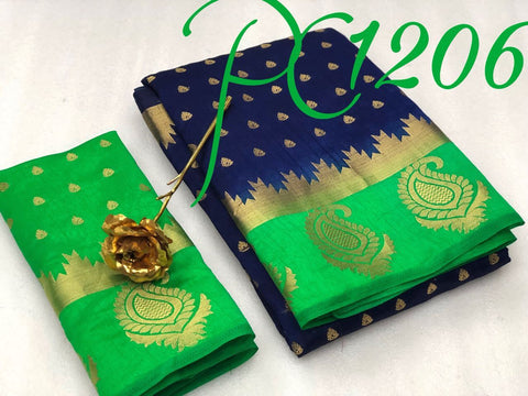 Navy Blue color  Tussar Silk   Saree - kls-1206-green