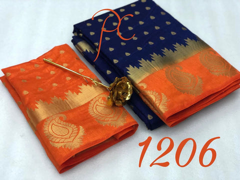 Navy Blue color  Tussar Silk   Saree - kls-1206-orange