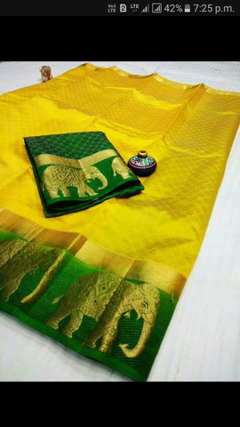 Yellow color  Tussar Silk   Saree - kls-5058-3
