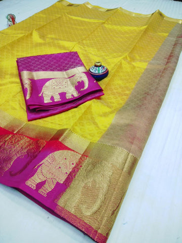 Yellow color  Tussar Silk   Saree - kls-5058-7