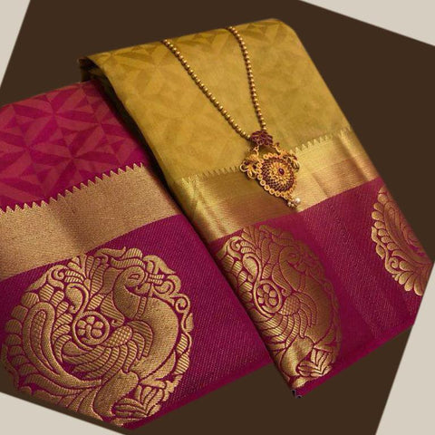 Yellow color  Tussar Silk   Saree - kls-krishna-02