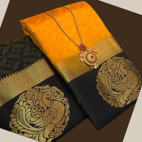 Yellow color  Tussar Silk   Saree - kls-krishna-07