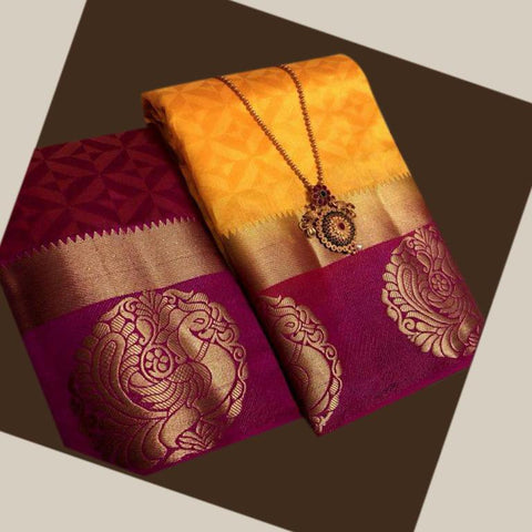 Yellow color  Tussar Silk   Saree - kls-krishna-12