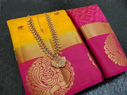 Yellow color  Tussar Silk   Saree - kls-krishna-14