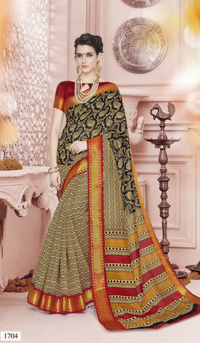Cream And Black Color Cotton Saree - KNKML1704