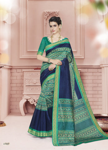 Navy Blue And Rama Color Cotton Saree - KNKML1707