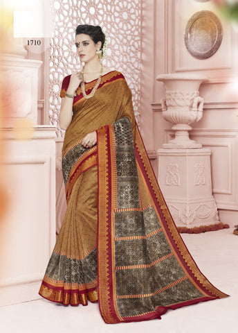 Light Brown Color Cotton Saree - KNKML1710