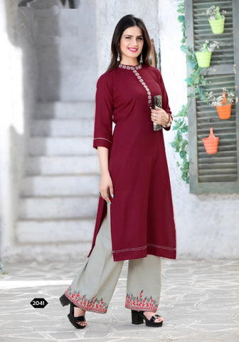 Maroon Color Rayon Women's Stitched Kurti with Palazzo - kp-177