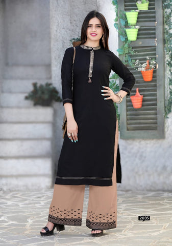 Black Color Rayon Women's Stitched Kurti with Palazzo - kp-377