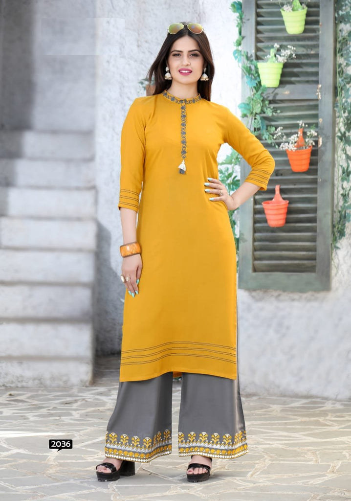 Buy Yellow Color Rayon Women's Stitched Kurti with Palazzo