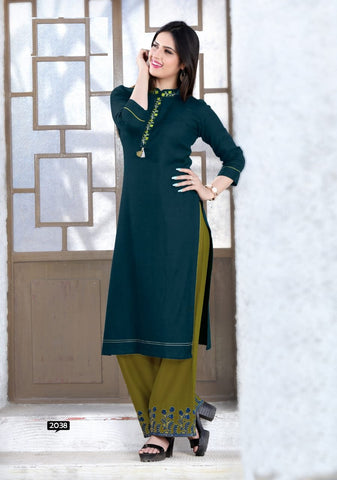 Dark Green Color Rayon Women's Stitched Kurti with Palazzo - kp-577