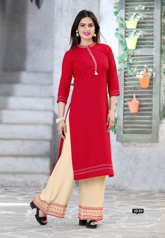 Red Color Rayon Women's Stitched Kurti with Palazzo - kp-677