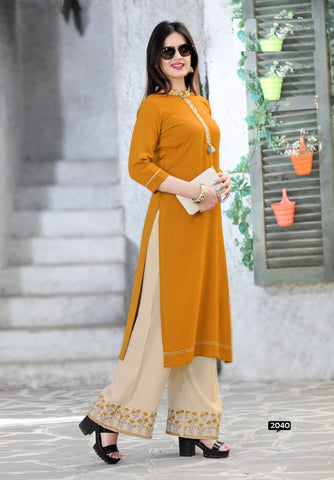 Mehendi Color Rayon Women's Stitched Kurti with Palazzo - kp-777