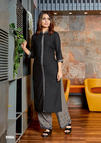Black Color Rayon Women's Stitched Kurti with Palazzo - kpv-177