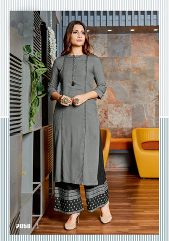 Grey Color Rayon Women's Stitched Kurti with Palazzo - kpv-277