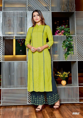 Green Color Rayon Women's Stitched Kurti with Palazzo - kpv-377