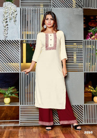 Cream Color Rayon Women's Stitched Kurti with Palazzo - kpv-577