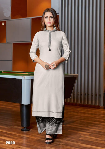 White Color Rayon Women's Stitched Kurti with Palazzo - kpv-677