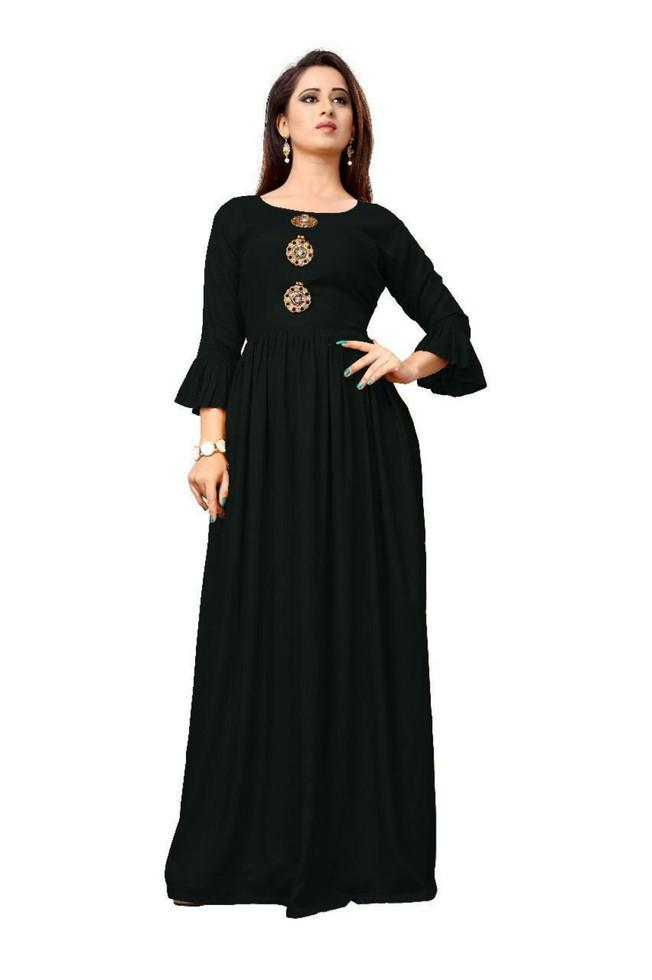 Buy Black Color Rayon Stitched Kurti