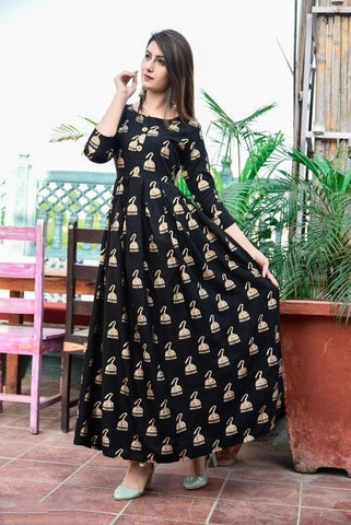 Black Color Rayon Stitched Kurti - krish-107