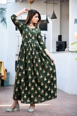 Buy Dark Green Color Rayon Stitched Kurti