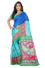 Buy Blue Color Khadi Silk Saree
