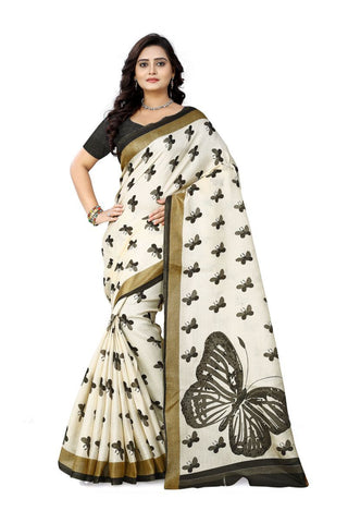 Black Color Khadi Silk Saree - ks-titli-black