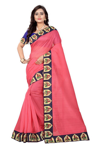 Peach Color Bhagalpuri Saree - lady-peach
