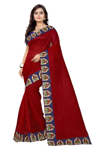 Red Color Bhagalpuri Saree - lady-red