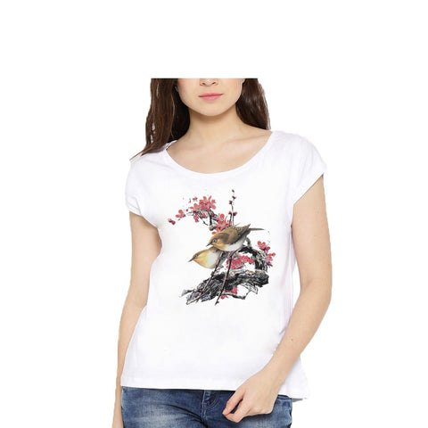 White Color Cotton Womens Tshirt - lady-white-182